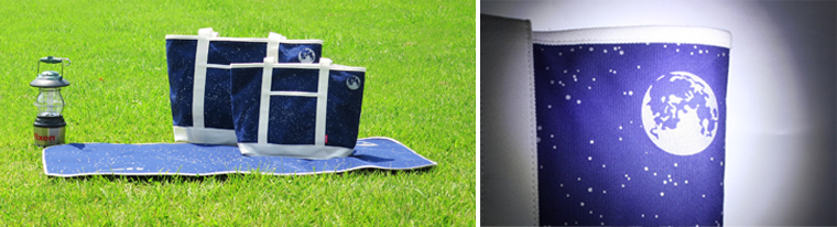 夏の夜空をモチーフに、光を反射するプリントを施した「宙(ソラ)トートバッグM/L」9月8日(木)発売