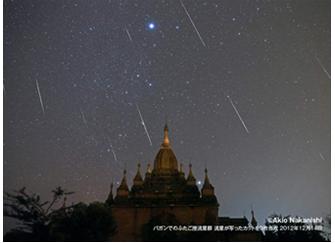 「天体写真家・中西昭雄と行く ミャンマー・ふたご座流星群観察の旅」に協賛