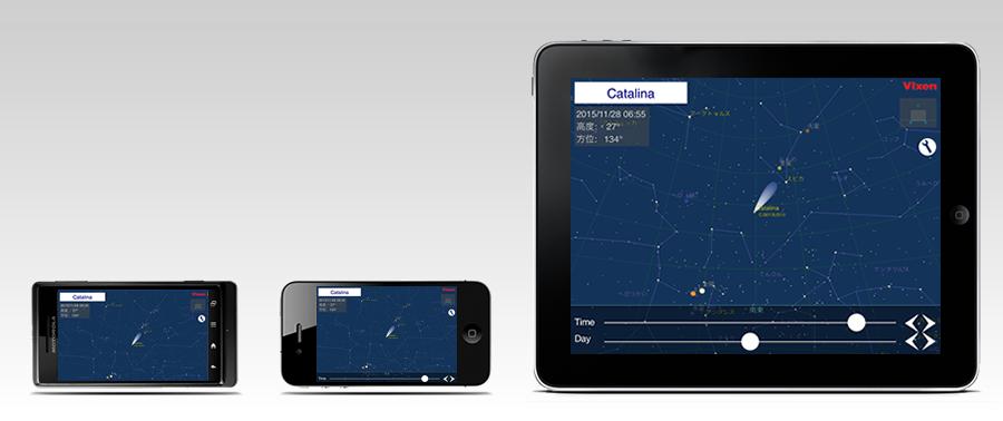 彗星がいつどの方角に見えるかをわかりやすく表示