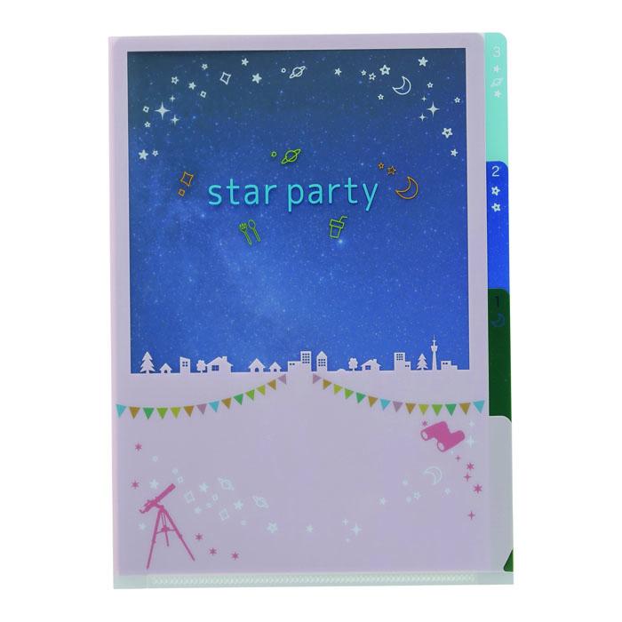 Vixen ステーショナリー 3PクリアフォルダーA5 スターパーティ柄 —