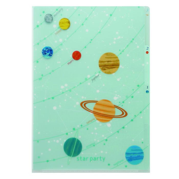 Vixen ステーショナリー 3PクリアフォルダーA4 惑星柄 —