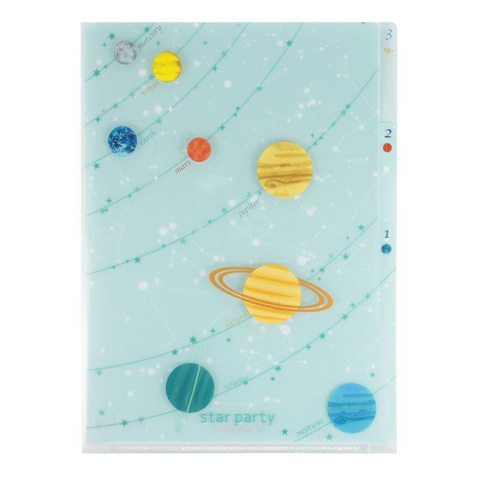 Vixen ステーショナリー 3Pクリアフォルダー A5 惑星柄 —
